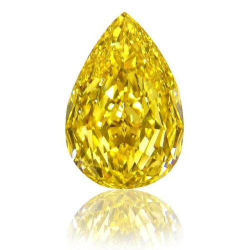natural fancy coloured yellow diamond pear shape