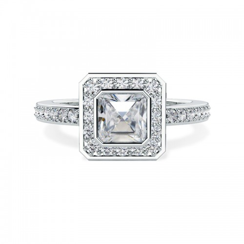 Ascher diamond engagement ring with pave setting
