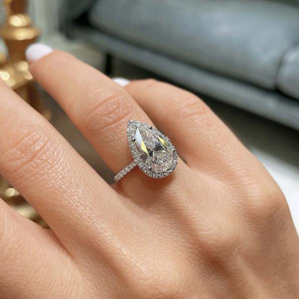 Pear shaped diamond engagement ring london