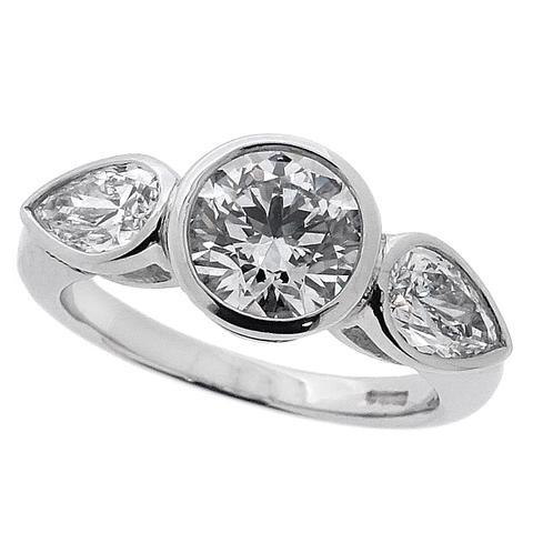 triology rubover diamond engagement ring
